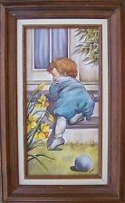 Vintage Toddler Portrait Painting Active Baby Crawling Framed Signed Original
