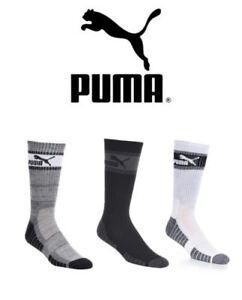 New w/Tags Puma Men's 3 Pack Crew Socks w/ Moisture Control Technology