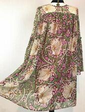 MORRIS CO H&M Brown Green Floral Dress EUR 38 Art Nouveau 10 Chiffon Floaty