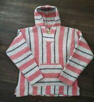 Vtg Baja Joe Men's Size Medium Baja Mexican Blanket Hoodie Poncho Pullover - Red