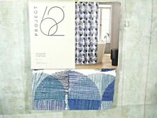 Project 62 Shower Curtain Fabric Blue Circles 72 x 72 Bathroom White New