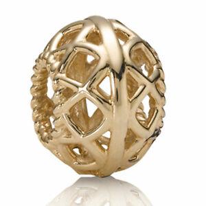 AUTHENTIC PANDORA OPEN LATTICE 14K GOLD CHARM #750470 BRAND NEW RARE SAVE$$ F/SH