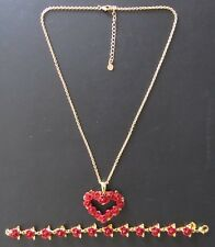 """Shaped Necklace 20"""" Gold Tone Chain Red Rose Figural Flower Bracelet 7.5""""+Heart"""