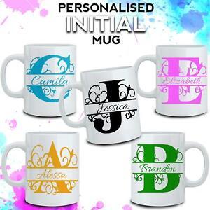 Personalised Initial Name Mug Custom Print Special Tea Coffee Cup Birthday Gift