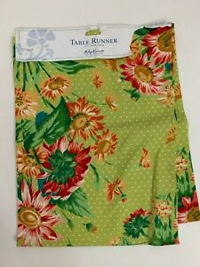 """April Cornell Bright Floral Table Runner Green Red Yelloe 13"""" x 72"""" 100% Cotton"""