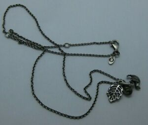 Retired PANDORA Forest Trinity Sterling Peridot Charm Necklace 791214PE