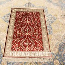 Yilong 2.5'x4' Red Hand-knotted Area Carpet All Over Silk Handmade Area Rug 432B