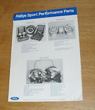 Ford Rallye Sport Performance Parts Flyer & Dealer Guide 1970 - RS1600