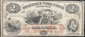 "1862 $2 Somerset & Worcester (Orange Print) ""Salisbury, Maryland ~ BEAUTY!!"
