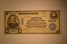 Crawfordsville, IN - $5 1902 Plain Back Fr. 607 The Citizens NB Ch. # 2533