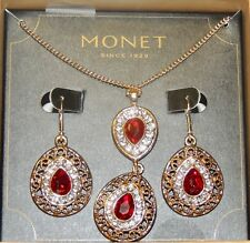 Gold Plated 18'' Twist Style Chain with Ruby Double Stone+ Matching Earrings Set