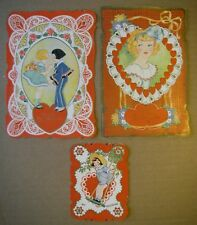 Unused Antique Vintage Usa Valentine's Day Card Embossed Die Cut 20s lot Lace