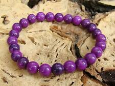 Men's Beaded Bracelet Gemstone 8mm PURPLE SUGILITE beads stretchable