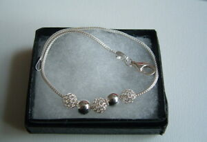 New 925 Sterling Silver fancy charm beads Bracelet 19cm small gift box.