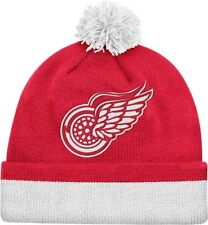 Detroit Red Wings Mitchell & Ness NHL Jersey Stripe Cuffed Knit Hat w/Pom