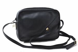 Authentic GUCCI Shoulder Cross Body Bag GG Leather Black C1400