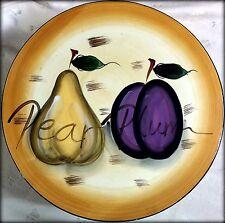 """Coushatta Pear & Plum Ceramic & Pedestal Cake Plate, 12"""" Diam x 3.25"""" T"""