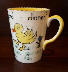 Charlotte Rhead Who Said Dinner Children's Mug Crown Ducal 1930's Rare Survivor