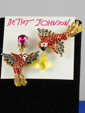 Betsey Johnson Gold TROPICAL PUNCH Pave' Parrot Mismatch Drop Earrings $45