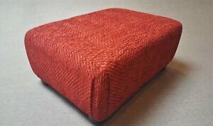 Footstool / Small Stool /  Cranberry Herringbone Thick Plush Chenille Fabric
