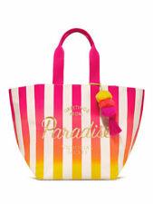 VICTORIA'S SECRET PARADISE BOMBSHELL TOTE BEACH BAG PINK STRIPED TASSEL POM POM
