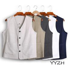 Mens Retro Sleeveless Vest Cotton Linen Button Up Casual Coat Outwear Jacket New
