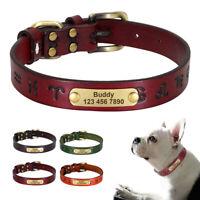 Leder Hundehalsband mit Eingravierter Name Telefonnummer für kleine große Hunde