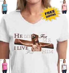 Religious Christian Jesus Christ Died For Me Savior God Cross New Womens T Shirt