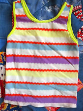 VTg 70s Boys Girls sz 4 5 Sears Stetch Nylon Hippy Rainbow Knit Tank Top Shirt