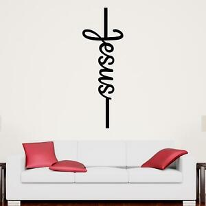 Jesus Single Vertical Line Wall Sticker Decal Quote Christian Religious Décor