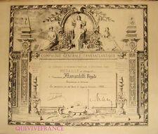 DIPLOME MEDAILLE CIE GENERALE TRANSATLANTIQUE  CGT 1952