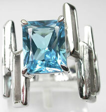MODERN BLUE TOPAZ RING IN STERLING SILVER  Unusual Jewelry