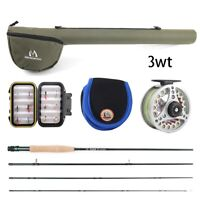 """Maxcatch 3WT 8' 4"""" Fly Fishing Rod Combo Rod, Reel, Line, Fly Box w/Flies Outfit"""