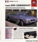 Peugeot 504 Cabriolet IMP Brochure Specs France 1969-1983 Group 5, No 57
