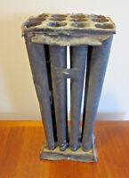 """Candle Mold 12 Hole Tapered Primitive Tin Early Antique Vintage 10"""" Tall"""