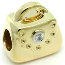 Shoulder Bag Real Diamond 9K 9ct 375 Solid Gold Bead Charm FITS EURO BRACELETS