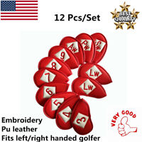 Golf Iron Covers Leather Embroidery On Both Sides 12 Pcs For Taylormade Mizuno
