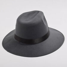 Unisex Camping Sunhat British Felt Fedora Ribbon Band Jazz Hat Wide Brim Hat