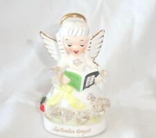 Vtg Napco September Birthday Angel Figurine Book Apple Spaghetti Trim A1364