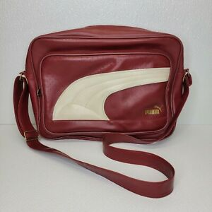 Retro Red Puma Zipper Messenger Bag, faux leather, vinyl, laptop bag