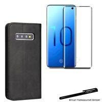 Etui portefeuille Noir pour Samsung S10e Housse protection +Verre trempé 3D Noir