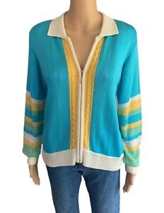 Striped Sweater 70s Vintage Sweater Shirt Rayon Knit Blouse - Women's Medium