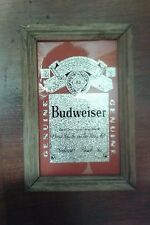 Vintage~Budweiser Lager Beer Framed Foil Art from the 1960's.  7x10 inches-