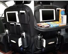 Car Back Seat Organizer Shelf Tray Storage Cup iPad Phone Holder Pocket Leather