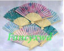 Lots of 100 Pcs Chinese Silk folding Bamboo Hand Fan Fans Art Handmade Flower