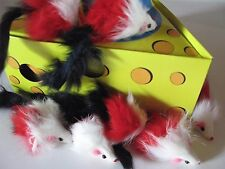 200 Colorful White Red Black Rattle Long Fur Mice Brand New Catnip