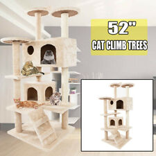 """New listing 52"""" Cat Tree Tower Condo Scratch Post Kitty Pet House Play Beige Climbing"""