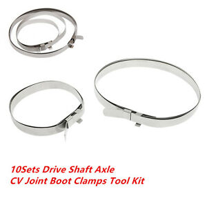 10 Sets Stainless Steel Universal Drive Shaft Axle CV Joint Boot Clamps Tool Kit