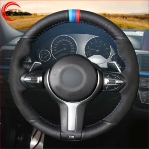 Black Leather Black Suede Car Steering Wheel Cover For BMW M Sport X4 F26 X3 F25