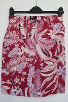 Next Linen Blend Red Leaf Print Summer Linen Blend Skirt Size 8 - 26